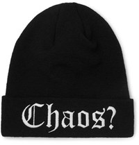 Palm Angels Embroidered Wool Beanie Black