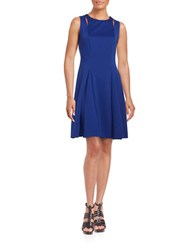 Gabby Skye Textured Fit And Flare Dress Royal Blue