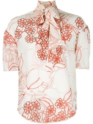 Giambattista Valli Bow Collar Flower Print Blouse Yellow And Orange