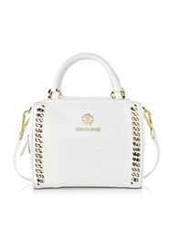 Roberto Cavalli Boston Mini Off White Leather Handbag