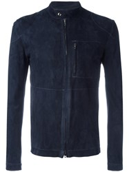 Salvatore Santoro Zipped Leather Jacket Blue