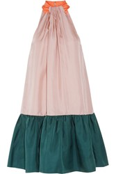 Roksanda Ilincic Elva Color Block Silk Twill Halterneck Dress Blush