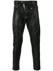Dsquared2 Zip Embellished Leather Trousers Men Cotton Calf Leather Polyester Viscose 52 Black
