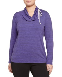 Balance Long Sleeve Cowl Neck Tee Heather Royal Blue