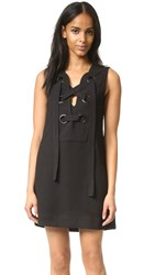English Factory Lace Up Front Dress Black