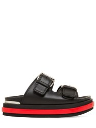Alexander Mcqueen 45Mm Leather Sandals Black