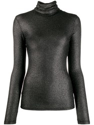 Majestic Filatures Lurex Knitted Roll Neck Black