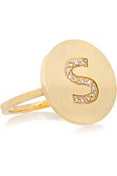 Jennifer Meyer Letter 18 Karat Gold Diamond Ring