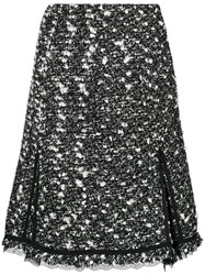Giambattista Valli High Waisted Tweed Skirt Silk Cotton Acrylic Virgin Wool Black