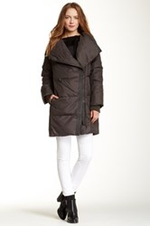 Vince Leather Trimmed Asymmetric Front Puffer Jacket Gray