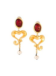 Christian Lacroix Vintage Baroque Heart Clip On Earrings Metallic