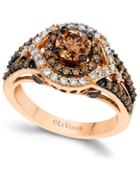 Le Vian Chocolate And White Diamond Engagement Ring In 14K Rose Gold 1 3 8 Ct. T.W.