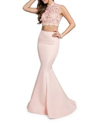 Glamour By Terani Couture Floral Embroidered Top And Mermaid Skirt Blush
