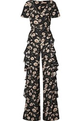 Michael Kors Collection Belted Ruffled Floral Print Silk Crepe De Chine Jumpsuit Black