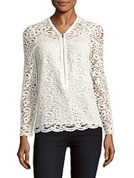 The Kooples Signature V Neck Lace Top White