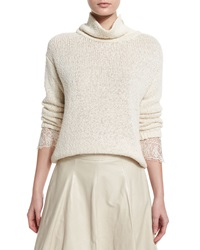 Brunello Cucinelli Knit Lace Cuff Turtleneck Sweater Butter Yellow