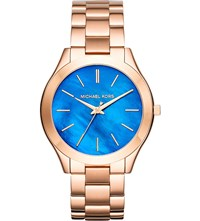 Michael Kors Mk3494 Slim Runway Rose Gold Toned Stainless Steel Watch Blue