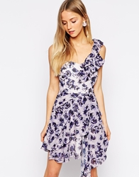Daisy Street One Shoulder Dress In Floral Print Liliac