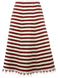 Philosophy Di Lorenzo Serafini Striped Knitted A Line Skirt Nude Neutrals