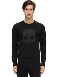 Hydrogen Embellished Ls Cotton Jersey T Shirt Black