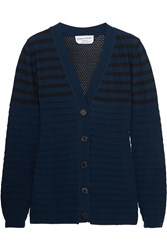 Sonia Rykiel Pointelle Knit Wool Blend Cardigan Blue