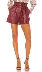 Bcbgmaxazria Faux Leather Shorts In Red. Deep Red