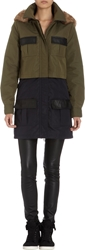 Barneys New York Colorblock Leather Trimmed Fur Hooded Parka Army Navy