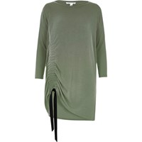 River Island Womens Green Long Sleeve Ruched Drawstring Top