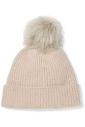 Karl Donoghue Pompom Embellished Ribbed Cashmere Beanie Light Gray