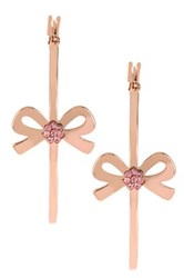 Betsey Johnson Bow Hoop Earrings Pink