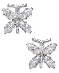 Macy's Cubic Zirconia Butterfly Stud Earrings In 10K White Gold