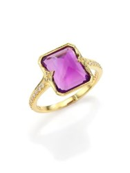Ila Dani Amethyst Diamond And 14K Yellow Gold Cocktail Ring Gold Amethyst