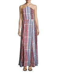 1.State Printed Halterneck Dress Silver Sand