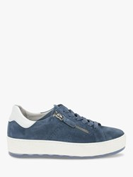 Gabor Quench Wide Fit Suede Trainers Nautic Weiss
