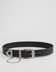 Asos Leather Western Drop Chain Waist And Hip Belt Black