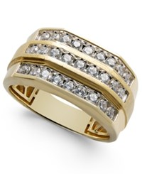 Macy's Men's Diamond Three Row Ring 1 Ct. T.W. In 10K Gold White