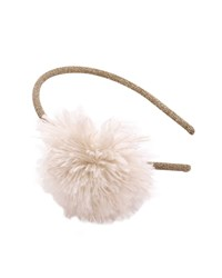 Pili Carrera Girls' Glittered Headband W Faux Fur Pompom Ivory