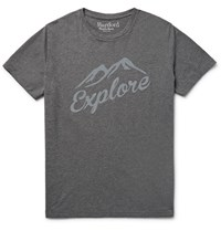 Hartford Sim Fit Focked Meange Cotton Jersey T Shirt Dark Gray