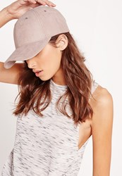 Missguided Faux Suede Baseball Cap Lilac Pink