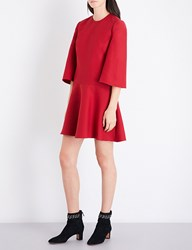 Valentino Wide Sleeve Loose Wool And Silk Blend Dress Red