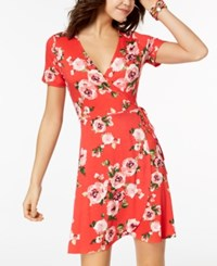One Clothing Juniors' Side Tie Wrap Dress Red Floral