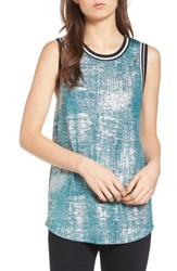 Trouve Women's Rib Trim Metallic Tank Teal Silver Foil