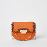 River Island Orange Saddle Lock Front Chain Cross Body Bag