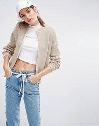 Daisy Street Oversized Zip Jumper In Rib Cream