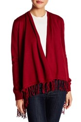 Joseph A Knit Fringe Cardigan Red