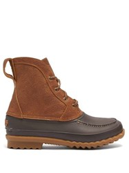 Quoddy Bi Colour Rubber And Leather Field Boots Dark Brown