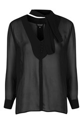 Topshop Long Sleeve Plunge Neck Tie Blouse Black