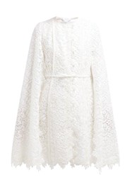 Giambattista Valli Floral Cotton Blend Lace Cape Coat Ivory