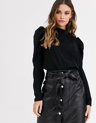 Y.A.S Exaggerated Sleeve Blouse Black