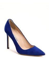 Manolo Blahnik Bb Suede Point Toe Pumps Pink Navy Cobalt Black Beige